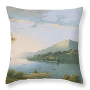 Landscape Along The Rhine Throw Pillow