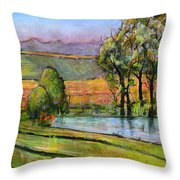 Landscape Art Scenic Fields Throw Pillow by Blenda Studio