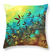 Landscape Bird Original Painting Family Time By Madart Throw Pillow