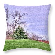 Landscape- Caboose - Little Red Caboose Throw Pillow