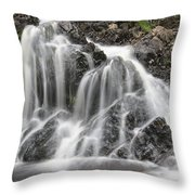 Landscape Detail Of Waterfall Over Rocks In Summer Long Exposure Throw Pillow