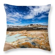 Landscape In North Iceland Leirhnjukur Throw Pillow by Matthias Hauser