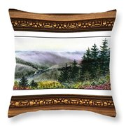 Landscape In Vintage Frame Throw Pillow
