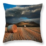 Landscape Of Hay Bales In Front Of Mountains Digital Painting Throw Pillow by Matthew Gibson