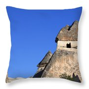 Landscape Of Limestone Fairy Chimneys At Zelve In Cappadocia Turkey Throw Pillow