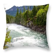 Landscape Of Mcdonald Creek Upstream In Spring In Glacier Np-mt Throw Pillow