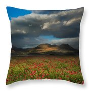 Landscape Of Poppy Fields In Front Of Mountain Range With Dramat Throw Pillow
