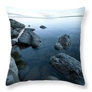 Landscape Of Rocks Along Shoreline Throw Pillow