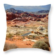 Landscape Of Valley Of Fire State Park Throw Pillow