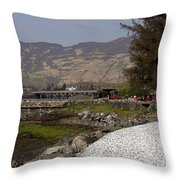 Landscape Outside The Entrance To The Eilean Doonan Castle In Sc Throw Pillow