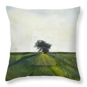 Landscape Painting-lone Tree-barbara J. Hart-oil On Canvas-24 Throw Pillow