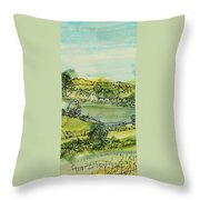 Landscape Pen & Ink With Wc On Paper Throw Pillow