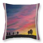 Landscape Sunset In Memenbetsu Cho Japan Throw Pillow