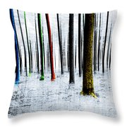 Landscape Winter Forest Pine Trees Throw Pillow