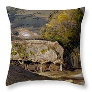 Landscape With A Barn, Shoreham, Kent Throw Pillow