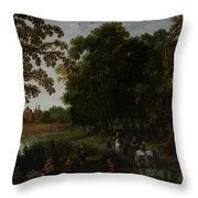 Landscape With A Courtly Procession Before Abtspoel Castle Throw Pillow