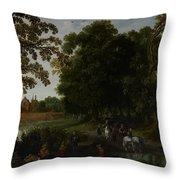 Landscape With A Courtly Procession Before Abtspoel Castle Throw Pillow by Esaias I van de Velde