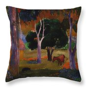 Landscape With A Pig And Horse Throw Pillow