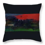 Landscape With A Red Sky Oil On Canvas Throw Pillow