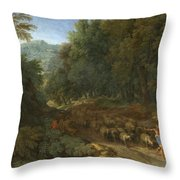 Landscape With A Shepherd And His Flock Throw Pillow