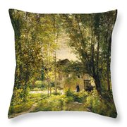 Landscape With A Sunlit Stream Throw Pillow