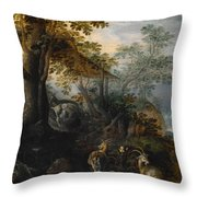 Landscape With Animals Throw Pillow
