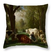 Landscape With Cattle And Sheep Throw Pillow