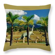 Landscape With Dinosaurs Throw Pillow