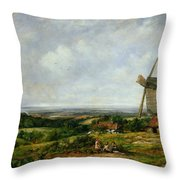 Landscape With Figures By A Windmill Throw Pillow