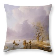 Landscape With Frozen Canal Throw Pillow