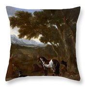 Landscape With Hermit Preaching To Animals Throw Pillow
