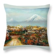Landscape With Mountain Ararat From The Village Aintap Throw Pillow