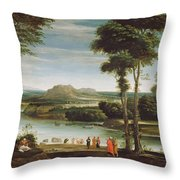 Landscape With St. John Baptising Throw Pillow