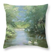 Landscape With Swans Throw Pillow