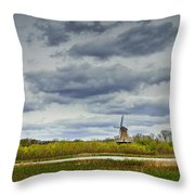 Landscape With The Dezwaan Dutch Windmill On Windmill Island In Holland Michigan Throw Pillow