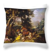 Landscape With The Ministry Of John The Baptist Throw Pillow