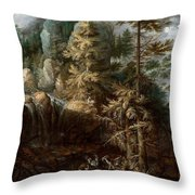 Landscape With The Temptation Of Saint Anthony Throw Pillow