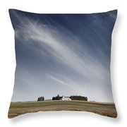 Landscape With White Country Church Throw Pillow