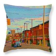 Landsdowne Condos 5th Avenue The Glebe Ottawa Street Scene Paintings Carole Spandau Canadian Art Throw Pillow