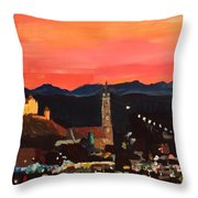 Landshut At Dawn With Alps Throw Pillow