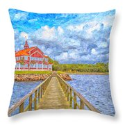 Landskrona Sea Shore Painting Throw Pillow