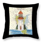 Langara Pt Lighthouse Bc Canada Nautical Chart Map Art Throw Pillow