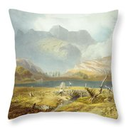 Langdale Pikes, From The English Lake Throw Pillow
