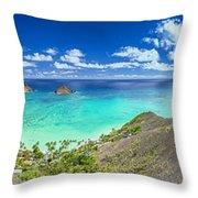 Lanikai Bellows And Waimanalo Beaches Panorama Throw Pillow