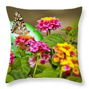 Lantana With Butterfly Throw Pillow