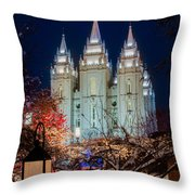 Lantern Bush Slc Temple Throw Pillow