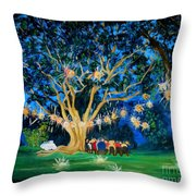 Lantern Tree Throw Pillow