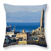 Lanterna - Lighthouse In Genova Throw Pillow