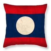 Laos Flag Vintage Distressed Finish Throw Pillow