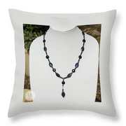Lapis Lazuli And Black Onyx Lariat Necklace 3675 Throw Pillow
